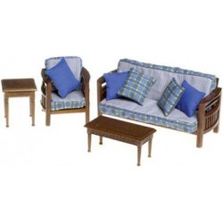 Family Room Set, 4pc, Walnut/cb