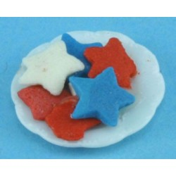 Red, White & Blue Cookies On Plate