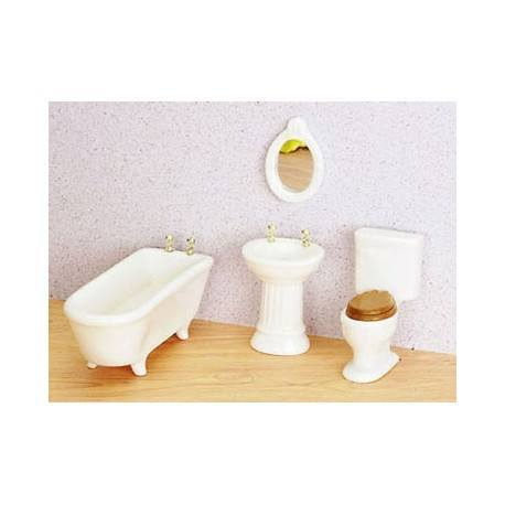 Art Deco Bath Set 4 Pc Wht Cs