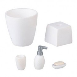 Resin White Bath Accessory Set/5Pc