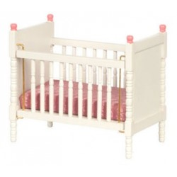 Crib White W Pink Trim