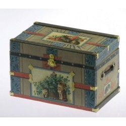 Lithograph Wooden Trunk Kit Victorian Cat