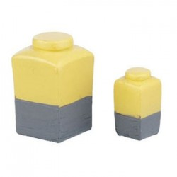 Resin Yellow/Gray Jars- 2 Pc Set