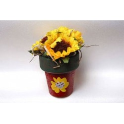 Clay Pot W Sunflowers