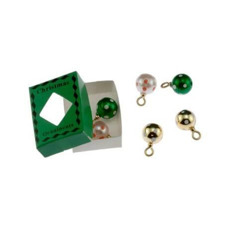 christmas ornaments in green box