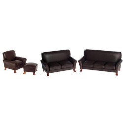 Leather Living Room Set/4/brn