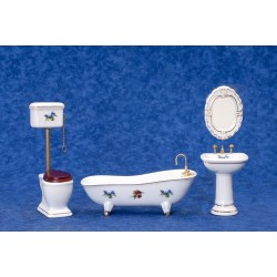 Bath Set/4/white w/decal