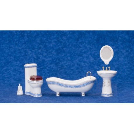 Bath Set/5/wh w/bl.trim