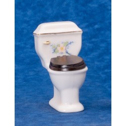 White Toilet/gold Trim