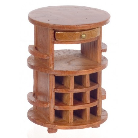 Round Serving Table/pecan