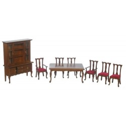 Dining Set/8/red/waln/cb