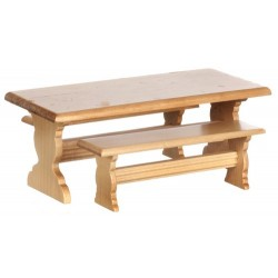 Trestle Table Set/3/oak