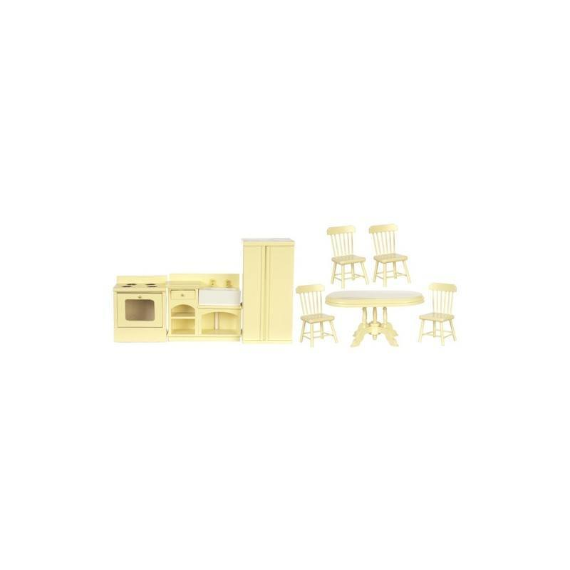 Kitchen set 8 cream dollhouse kitchen sets superior for Cream kitchen set