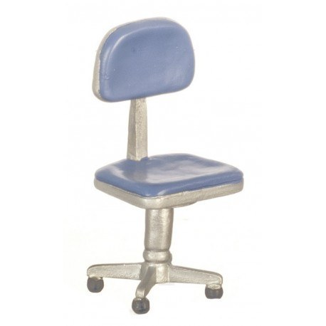 T5966A Blue Dollhouse Miniature Blue Office Desk Chair