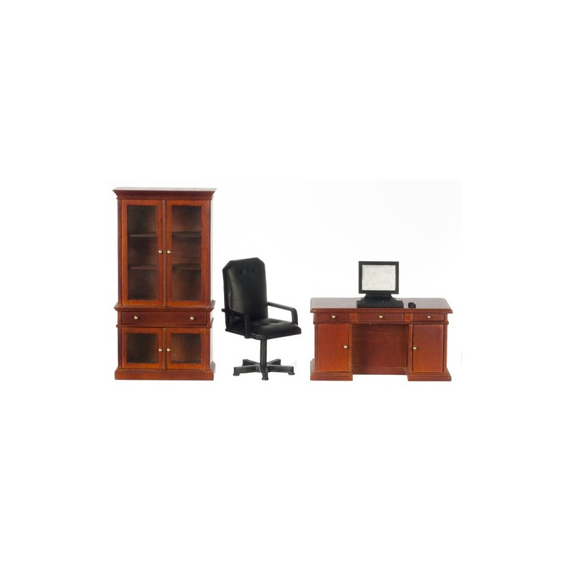 desk set 4 walnut dollhouse office sets superior