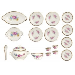 Tea Set/18pcs/rose/gld.tr