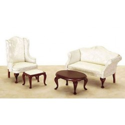 Small Queen Anne Living Room 4Pc White Fabric
