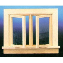 Double Swing out window with pane
