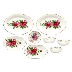 Red Rose Bowls/oval Plt/8