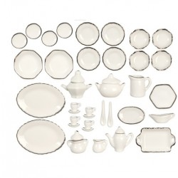 40Pc Wh/Silv Trim Dinner Set