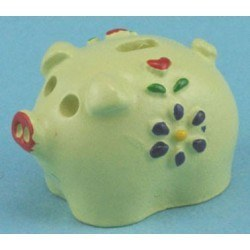 Cream and Floral Piggy Bank