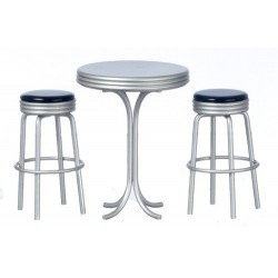 Tall Table w/2 Stools/blk
