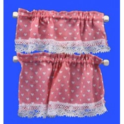Pink Nursery Hearts Cottage Curtains