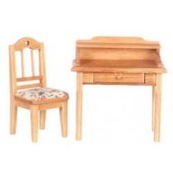 Small Desk W/Chair, Oak