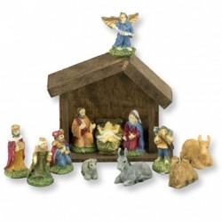 12Pc Nativity Set W/ Manger