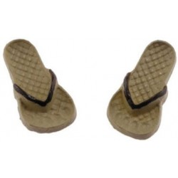 Flip Flops, Tan and Brown, Large