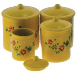 Yellow Canister Set with Decals, 4pc