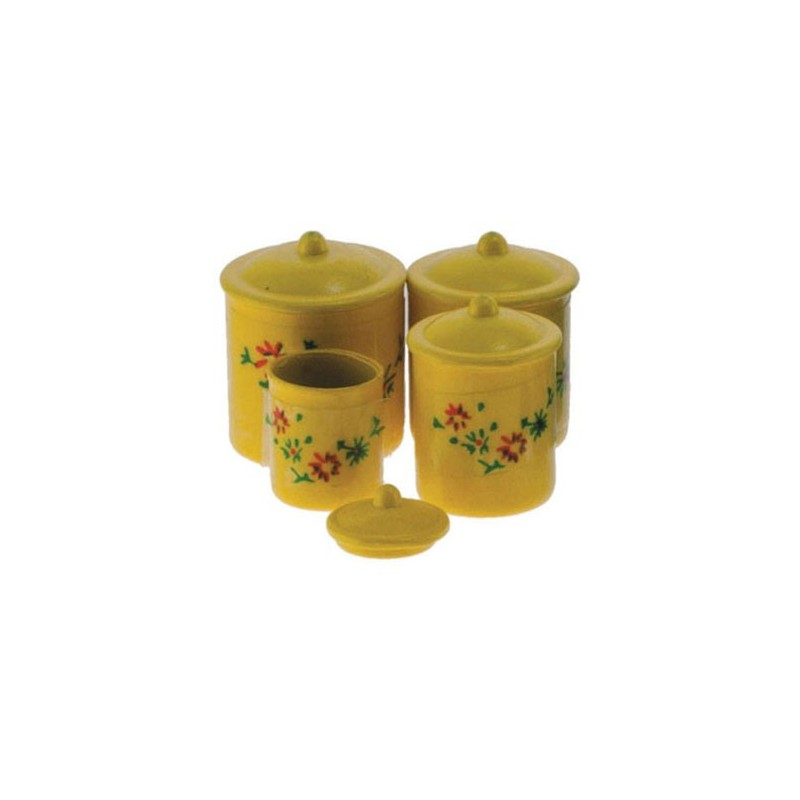 fixtures kitchen accessories yellow canister set with decals 4pc