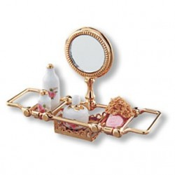 Brass Bathtub Rack/Mirror Set