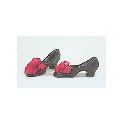 Shoes Black W/Red Bow