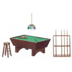 Pool Table Set, 24, Walnut/Cs