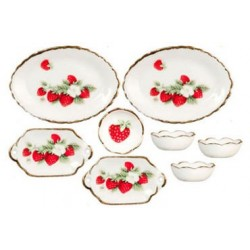 Bowls/Oval Plate, Strawberry, 8pc