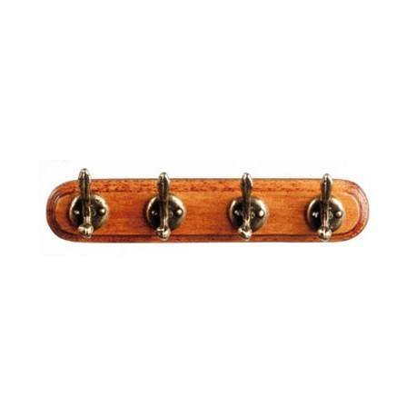 Dollhouse Miniature Wall Coat Rack in Wood with Metal Hooks ~ S3092