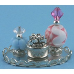 PERFUME TRAY W/2 BOTTLES & POWDER BOX