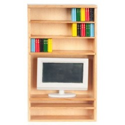 Book Shelf W/Books/Tv/Oak