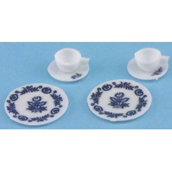 DECORATED DISHES, BLUE, 6/PC