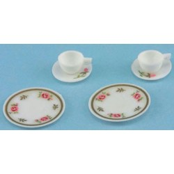 DECORATED DISHES, PINK, 6/PC