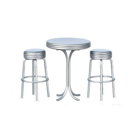 Tall Table W/2 Stools, Silver