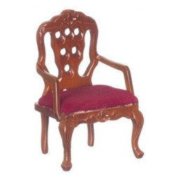Red & Walnut Carved Back Armchair