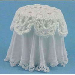 LACE TOP SKIRTED TABLE, WHITE