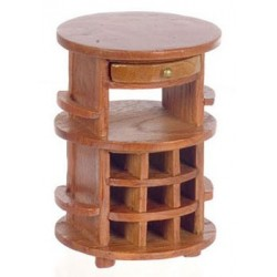 Round Serving Table, Pecan