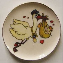 Stork With Baby Platter