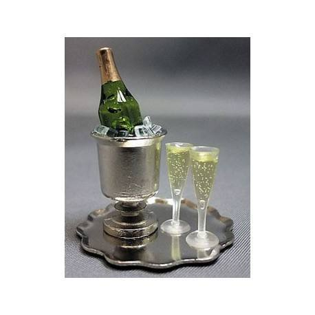 Champagne Bucket Tray-W/ Champagne, Ice & Flutes