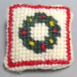NEEDLEPOINT PILLOW-WREATH