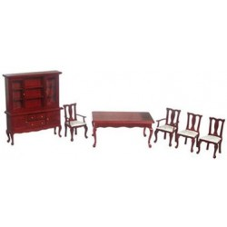 DINING ROOM SET, 6PC, MAHOGANY