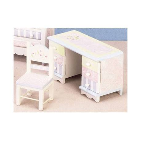 Cool Miniature Floral Pastel Desk Chair Seti Dollhouse Bedroom Furniture Superior Dollhouse Miniatures Ncnpc Chair Design For Home Ncnpcorg